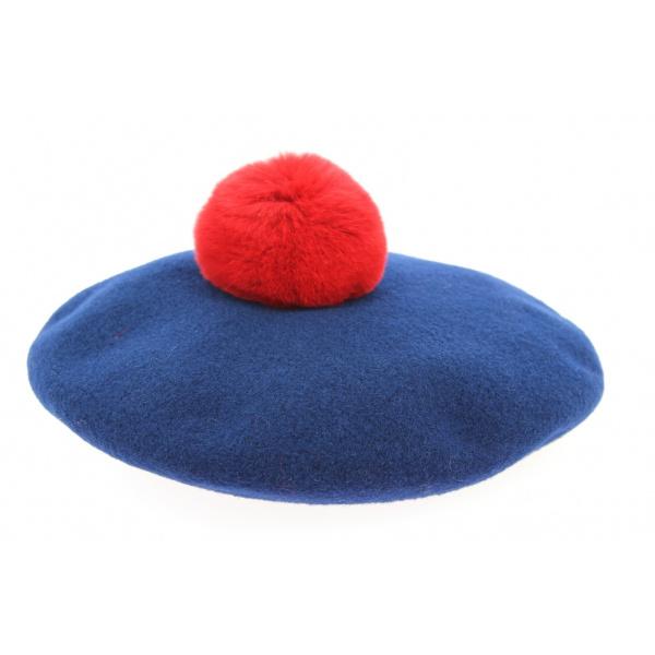 Béret à Pompon Enfant Laine Mérinos Bleu-  Laulhère
