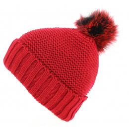 Bonnet à Pompon Danica Rouge- Traclet