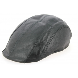 Casquette Plate Brindisi Cuir Noir- Crambes
