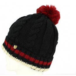 Bonnet à Pompon Absie Tricolore Noir- Traclet