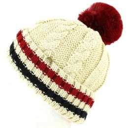Bonnet à Pompon Absie Tricolore Beige- Traclet