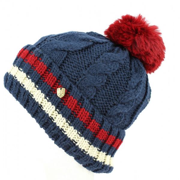 Bonnet à Pompon Absie Tricolore Océan- Traclet