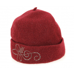 Toque Femme Bordeaux Strass - Mayser