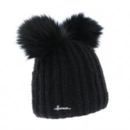 Bonnet à Pompon Maggy Noir- Herman