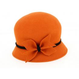 Chapeau Cloche Udine Feutre Laine Orange- Traclet