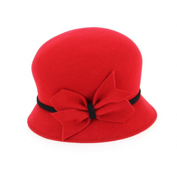 Chapeau Cloche Udine Feutre Laine Rouge- Traclet