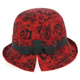 Chapeau cloche Daglio Feutre Laine Rouge & Noir- Traclet