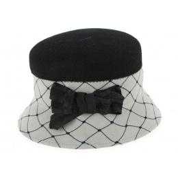 Chapeau Cloche Vadossi  Feutre Laine Noir & Gris- Traclet
