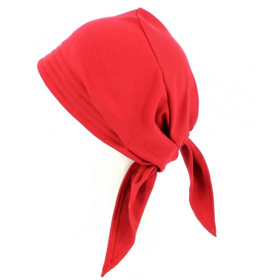 Turban Foulard Chimiothérapie Coton Rouge- Traclet