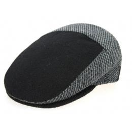 Ferrara Black & Grey Wool Flat Cap- Traclet
