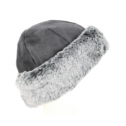 Toque Nayeli Cuir & Fausse Fourrure Anthracite- Traclet