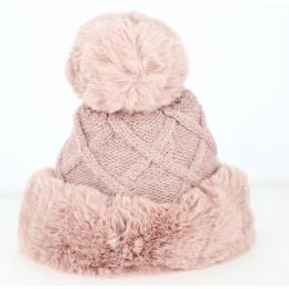 Bonnet à Pompon Allos Fausse Fourrure Rose- Traclet