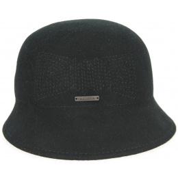 Cloche Hat Felt Wool Black- Seeberger
