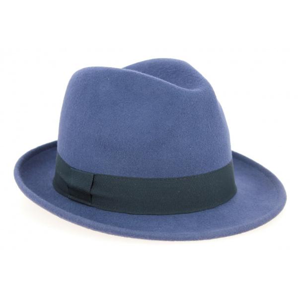 Chapeau Trilby Greenwich Feutre Laine Bleu- Traclet