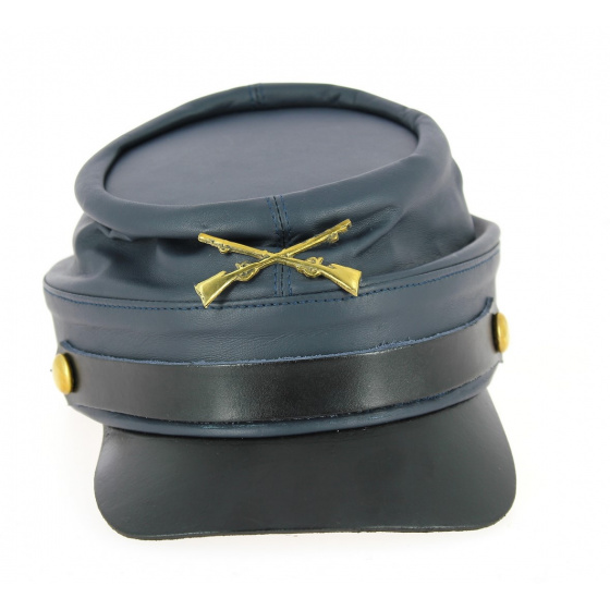 Casquette Style Nordiste Bleu Marine Cuir- Traclet