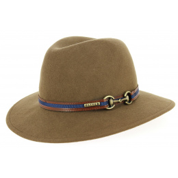 Chapeau Fedora Indiana Feutre Laine Taupe- Traclet