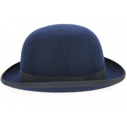 Chapeau Melon Feutre Laine Bleu Marine-Traclet