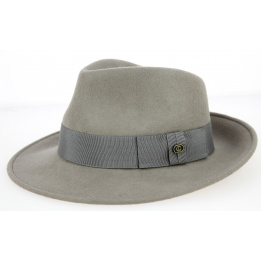 Grey fedora hat