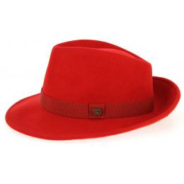 Chapeau Fedora Feutre Laine Rouge- Traclet