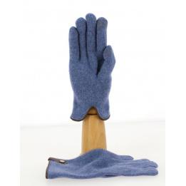 Gants Tactiles Séville Laine & Cachemire Bleu/Noisette- Traclet