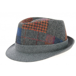 Chapeau Trilby Carlo Patchwork Laine Anthracite- Crambes