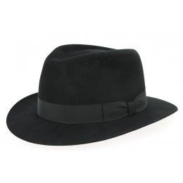 Fedora Brisbane Felt Shaggy Black Hat - Crambes