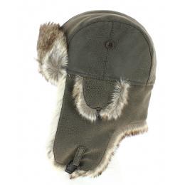 Brown Leather & Faux Fur Imitation Chapka - Herman