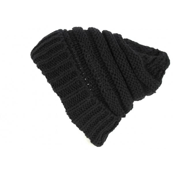 Bonnet à Revers Laine Noir- Traclet