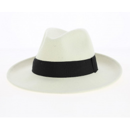 Fedora Hat Wool Felt White/Black Water Resistant