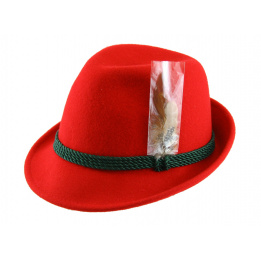 Chapeau Tyrolien Erlangen Feutre Laine Rouge- Traclet