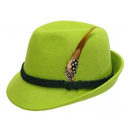 Chapeau Tyrolien Feutre Laine Vert- Traclet