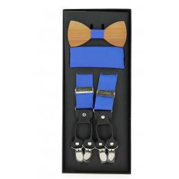 Noeud papillon homme en bois avec pochette en coton et bretelles assorties
