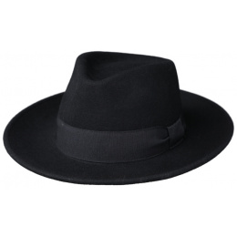 Hat Fedora Messina Black Wool Felt Hat- Traclet