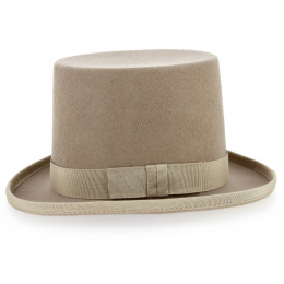 Chapeau Haut de Forme Feutre Laine Beige- Traclet