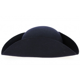 Tricorn Hat Felt Wool Felt Navy Blue - Traclet