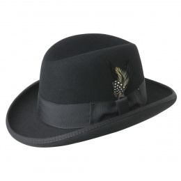 Homburg Godfather Hat Black Wool Felt - Bailey