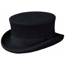 Black Wool Felt Half Top Hat - Traclet