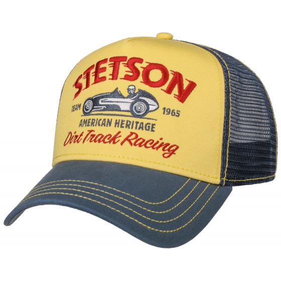 Baseball Cap Trucker Dirt Track Racing Blue & Yellow Cotton- Stetson