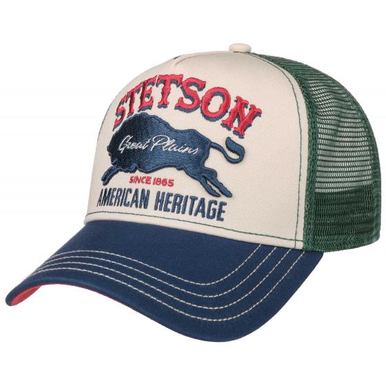 Trucker Baseball Cap Great Plains Cotton Green & Blue - Stetson