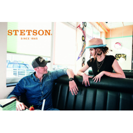 Baseball Cap Trucker Racing Team Black Cotton - Stetson