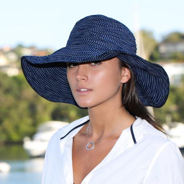 Capeline Scrunchie Large Bord Marine & Blanc- Emthunzini Hats