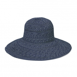 Scrunchie Wide Edge Navy & White Scrunchie Hat - Emthunzini Hats