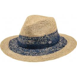 Chapeau Fedora Sol Paille Raphia Bleu- Barts
