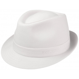 White Cotton Teton Fabric Hat - Stetson