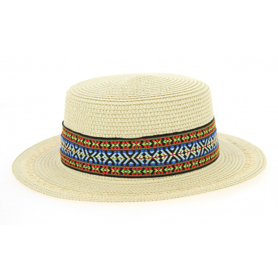 Azteca Boat Hat Azteca Straw Beige Paper - Traclet