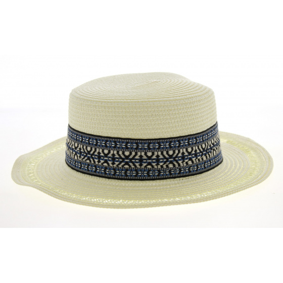 Azteca Boat Hat Azteca Straw Ivory Paper- Traclet