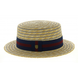 Jibacoa Straw & Cotton Striped Canotier Hat - Traclet
