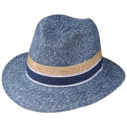 Chapeau Fedora Paille Papier Bleu Jean- Traclet