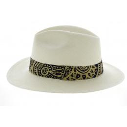 Chapeau Fedora Mandala Panama Blanc- Traclet