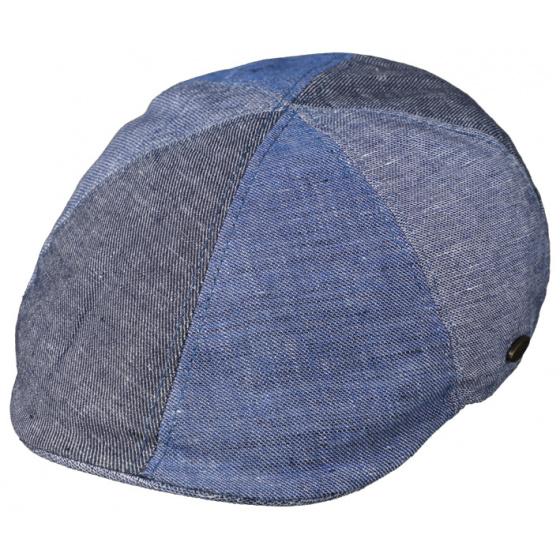 Casquette Bombée Patchwork Lin & Coton Bleue- Traclet